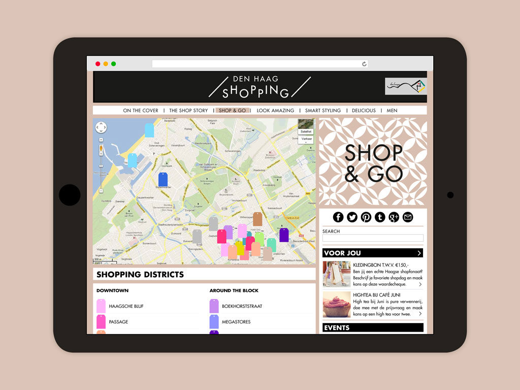 Den Haag Shopping website map